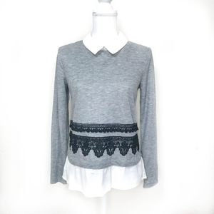 Layered Look Sweater w/ Crochet Details Size Small